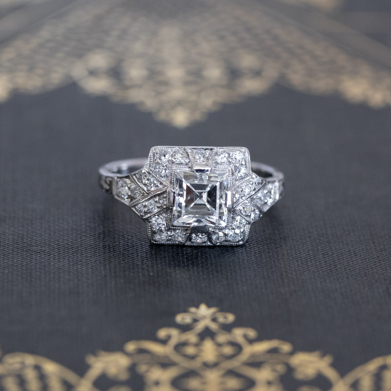 1.81ctw Art Deco French Cut Halo Ring, GIA H VS2