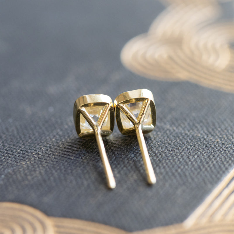 1.82ctw Old Mine Cushion Bezel Stud Earrings, 18kt Yellow Gold