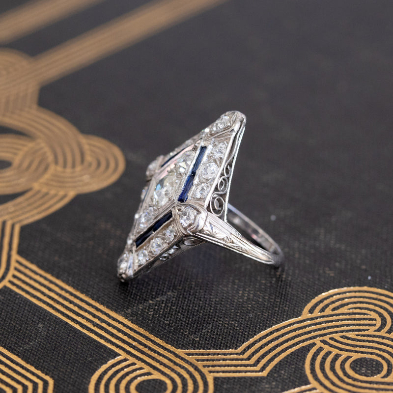 1.82ctw Edwardian Diamond Lozenge Dinner Ring