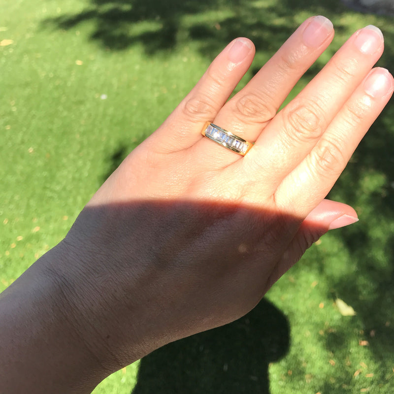 1.85ctw Vintage Emerald Cut Diamond Band
