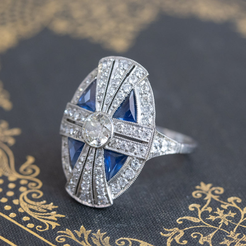 1.88ctw Art Deco style Sapphire and Diamond Dinner Ring