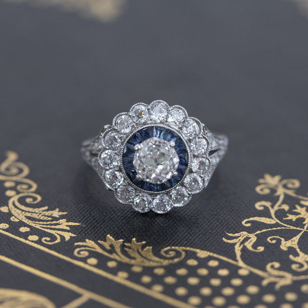 1.88ctw Diamond and Sapphire Double Halo Cluster