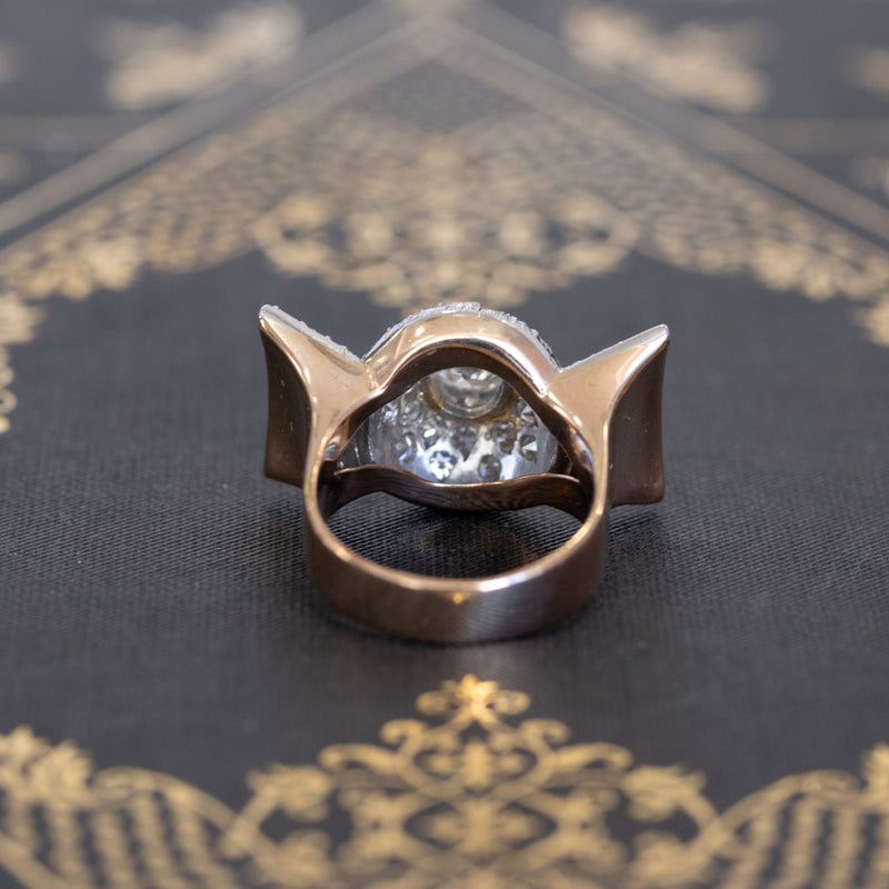 1.91ctw Retro Art Old Mine Cut Diamond Ring