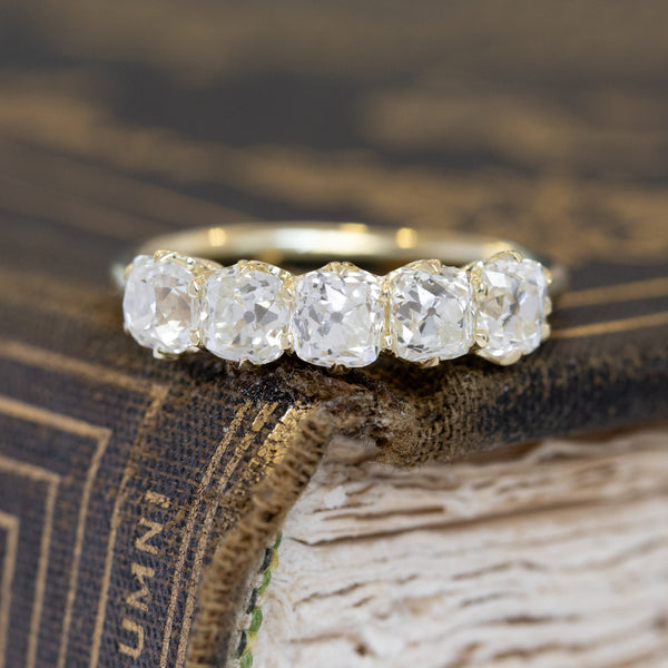 1.98ctw Old Mine Cut 5-Stone Diamond Band