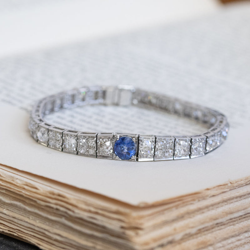 11.00ctw Art Deco Sapphire and Old Mine Cut Diamond Graduated Fancy Block Bracelet