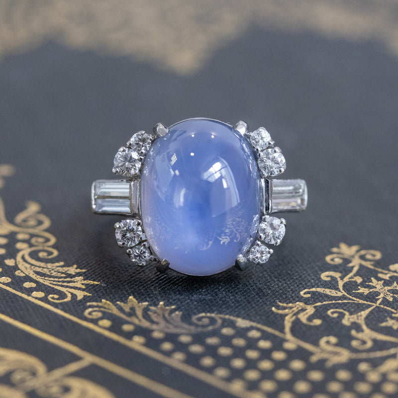 15.40ct Art Deco Star Sapphire and Diamond Ring