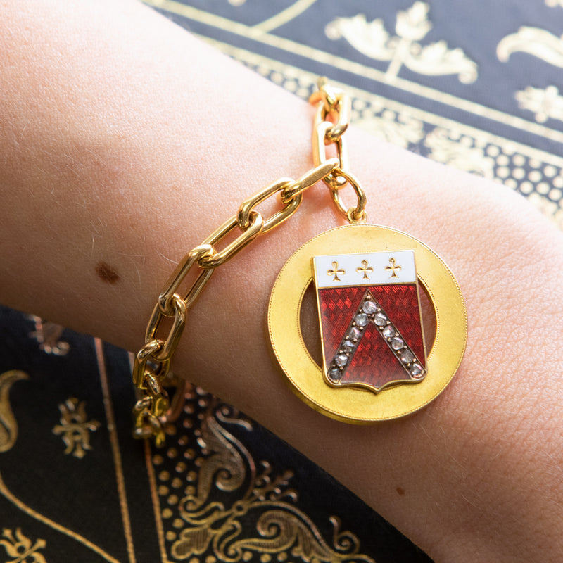 "Vintage Enamel and Diamond ""V"" Charm Bracelet"