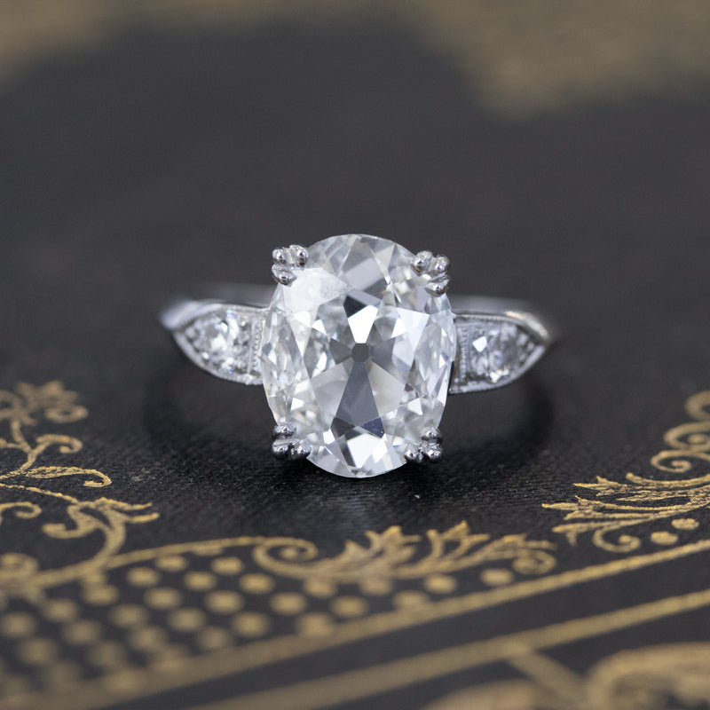 2.00ct Oval Cut Diamond Art Deco Solitaire, GIA H