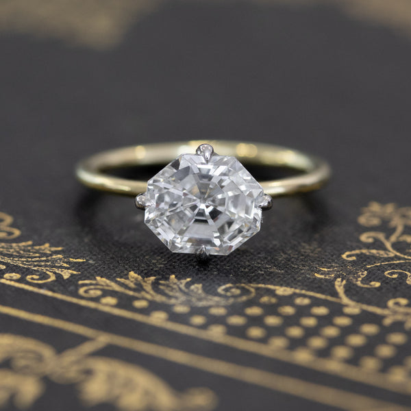 2.01ct Octagon Step Cut Diamond Solitaire, GIA H VVS2