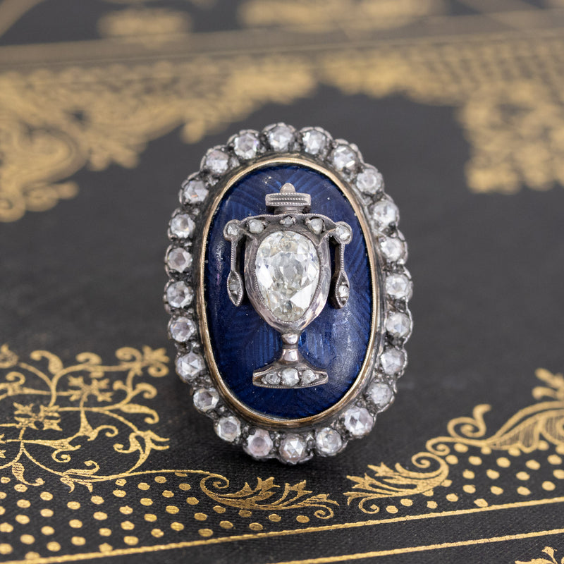 2.04ctw Georgian Urn Motif Diamond and Enamel Ring