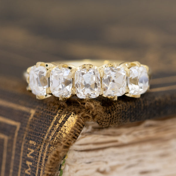 2.11ctw Elongated Old Mine Cut Diamond 5-Stone Band