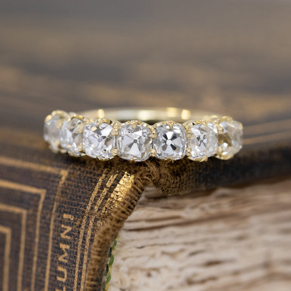 2.17ctw Old Mine Cut Diamond 7-Stone Band