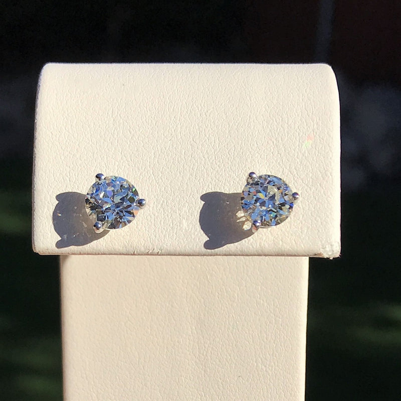 2.26ctw Old European Cut Diamond Stud Earrings, GIA J VS2 J VS1