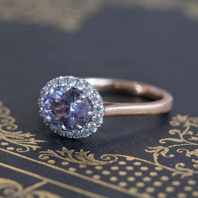 2.40ct Light Purple Sapphire Halo Ring