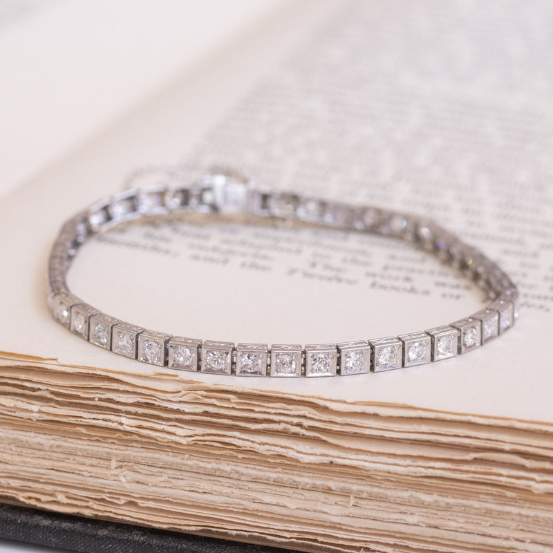 2.83ctw Vintage Old European Cut Diamond Line Bracelet