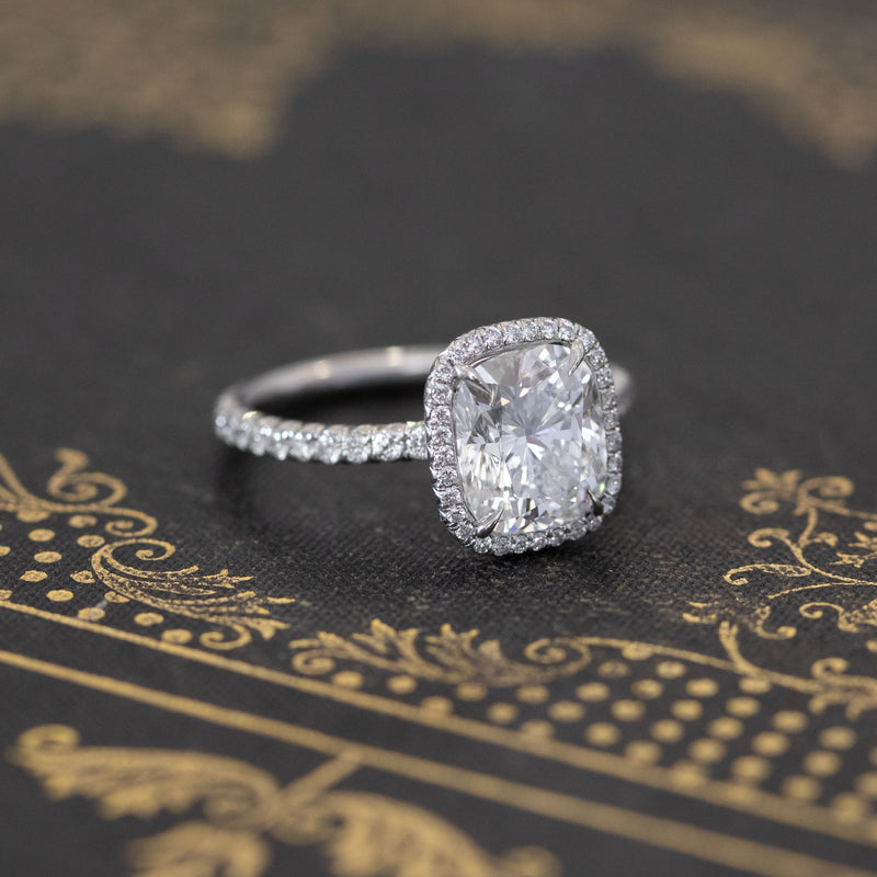 2.52ctw Elongated Cushion Cut Halo Ring, GIA G VVS2