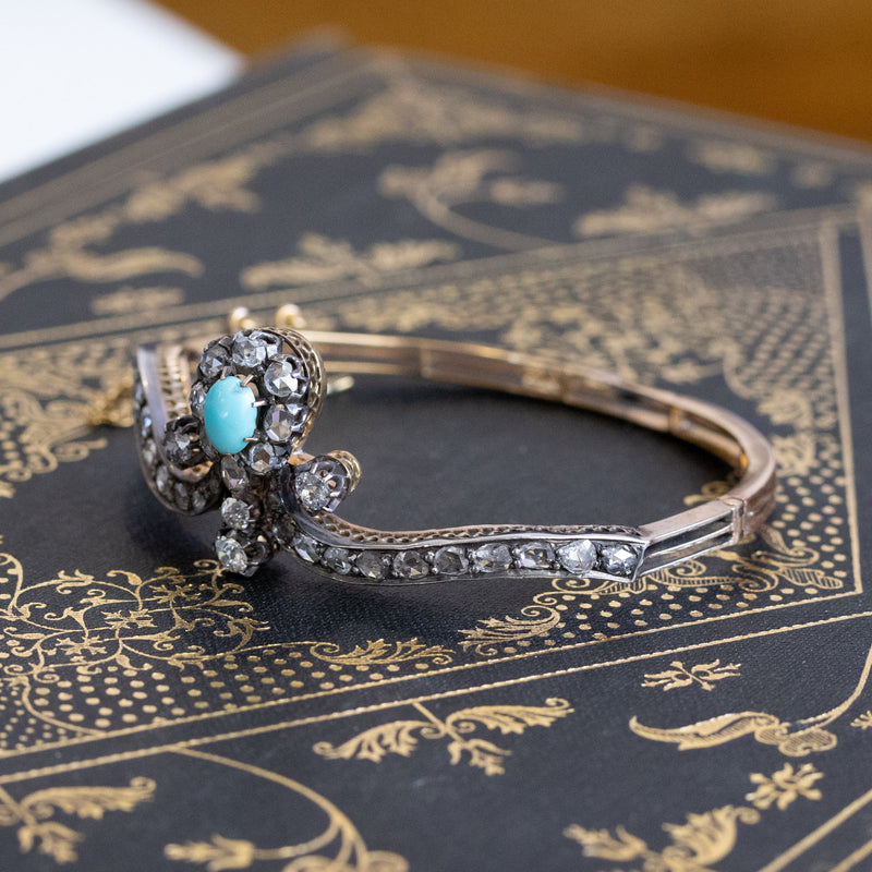 2.65ctw Victorian Turquoise and Rose Cut Diamond Tiara Bangle