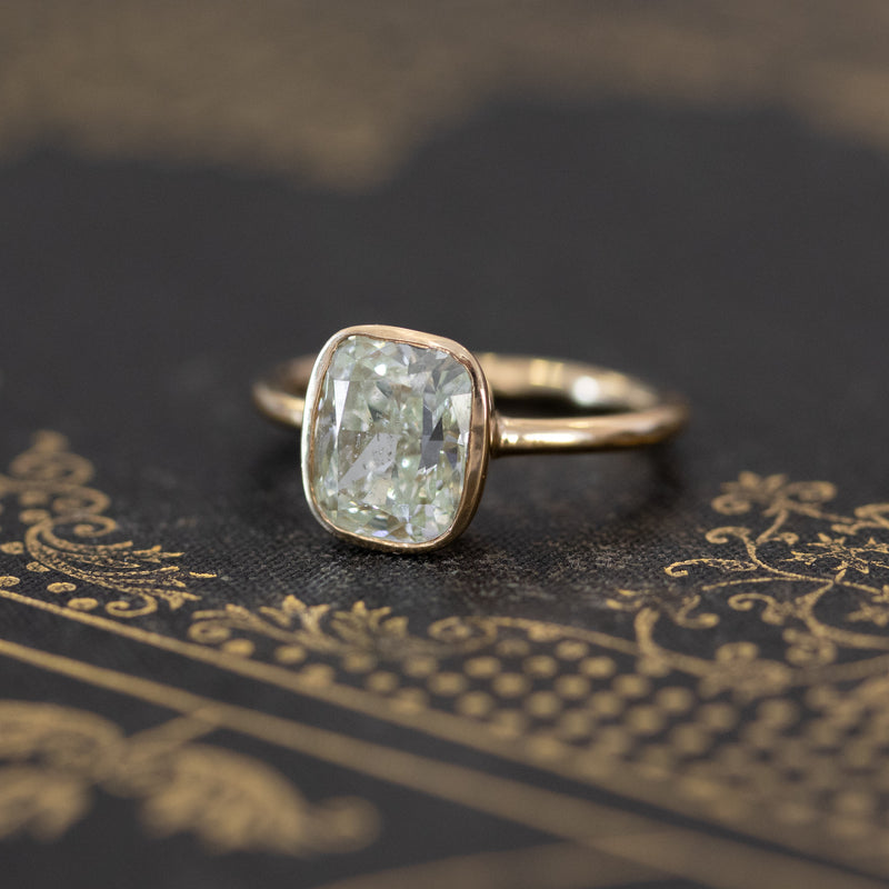 2.73ct Fancy Light Yellow-Green Cushion Cut Solitaire Ring