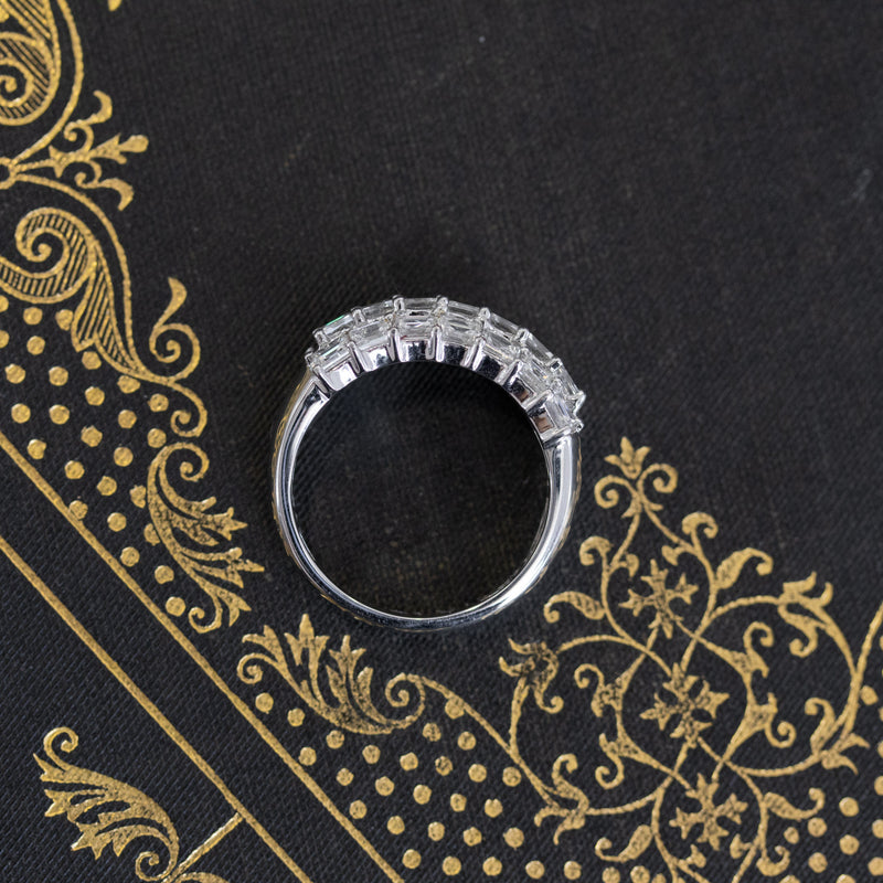2.05ctw Step Cut Diamond Triple Row Band