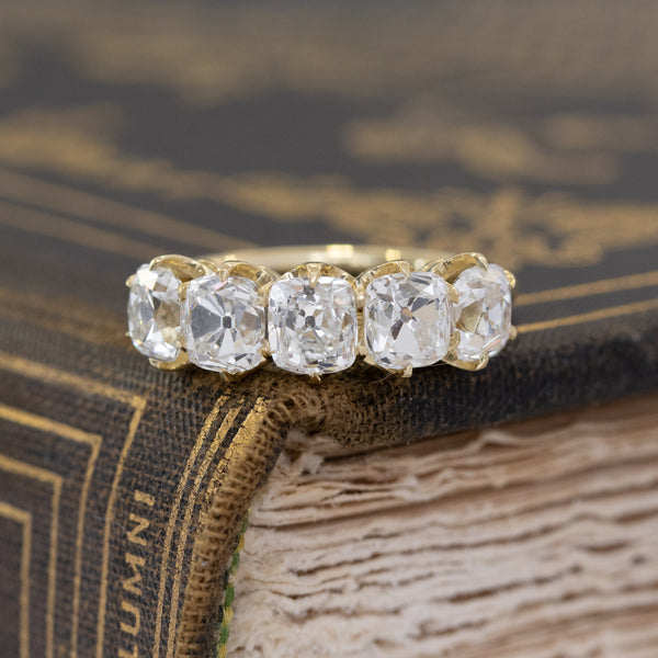 2.76ctw Old Mine Cut Diamond 5-Stone Half-Hoop Band, Yellow Gold
