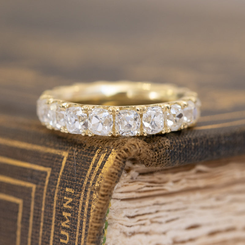 3.87ctw Old Mine Cut Eternity Band
