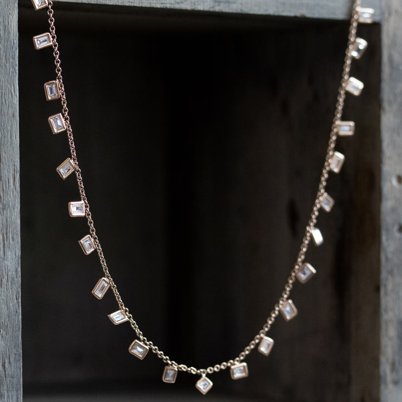 "2.80ctw Baguette Diamond ""Scatter"" Necklace, Rose Gold"