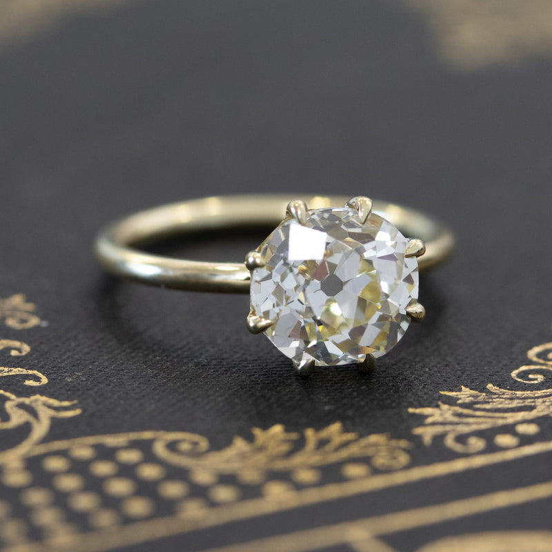 2.88ct Old Mine Cut Diamond Solitaire, GIA O-P VS1