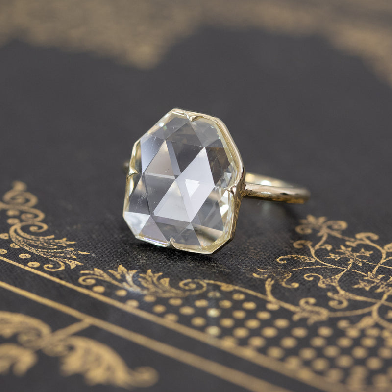 2.91ct Heptagon Rose Cut Diamond Solitaire, GIA QR VS1