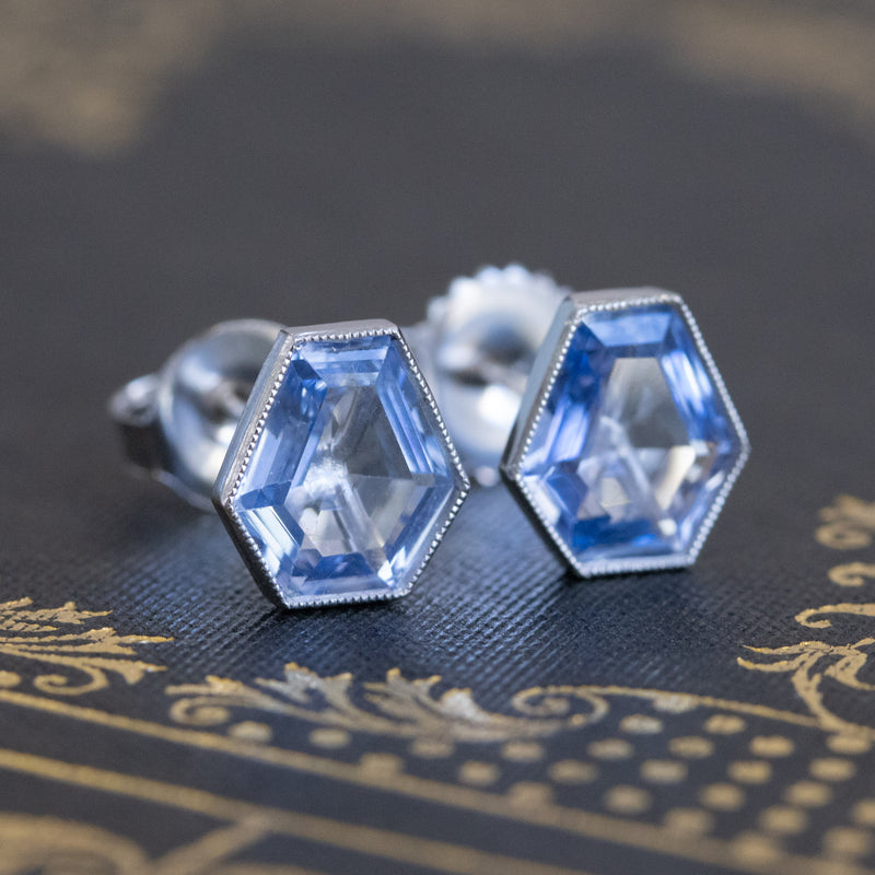 2.92ctw Shield Shape Sapphire Bezel Earrings
