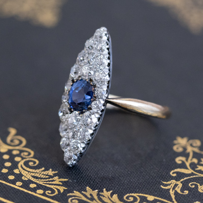 2.93ct Antique Diamond and Sapphire Navette Dinner Ring