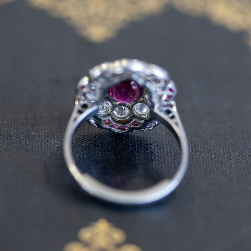 2.98ctw Art Deco Inspired Ruby and Diamond Halo Ring