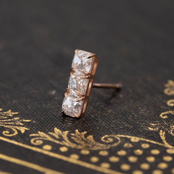 .57ctw 3-Stone Old Mine Cut Bar Earring, Rose Gold