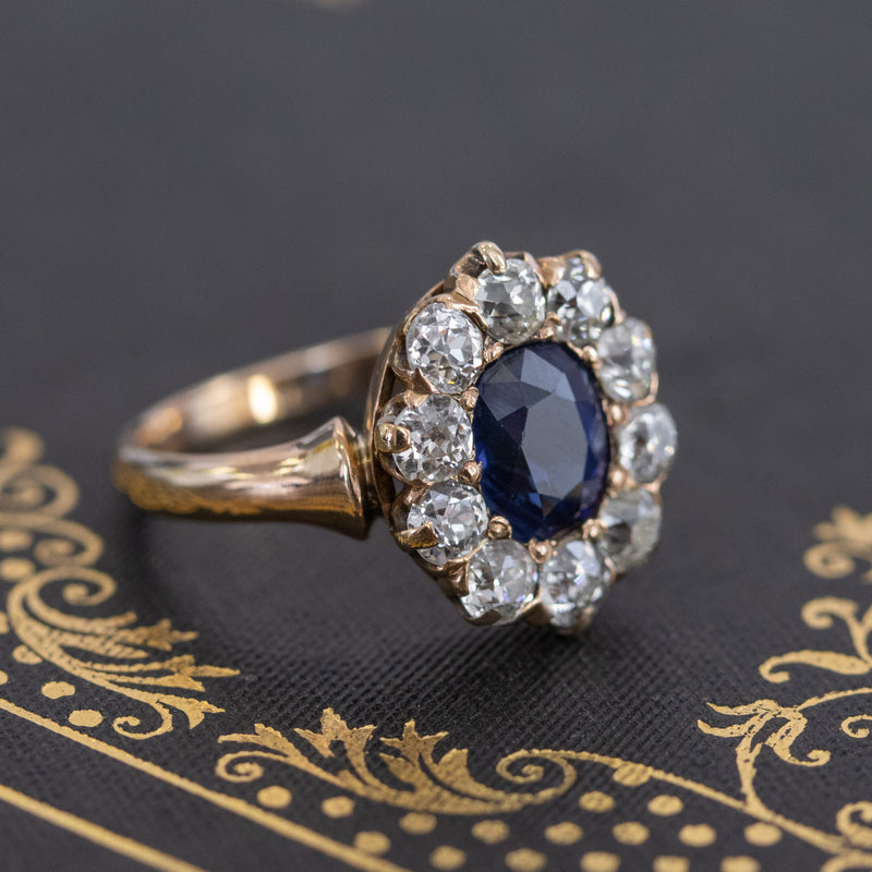 3.10ctw Antique Sapphire and Diamond Cluster Ring