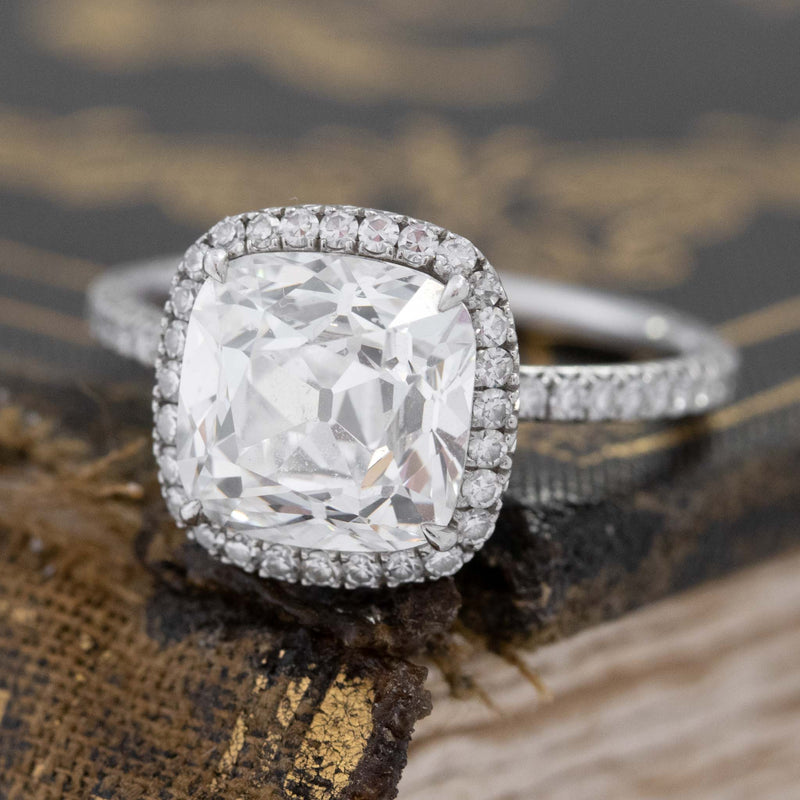 3.10ctw Cushion Cut Diamond Halo Ring, by Leon Mege