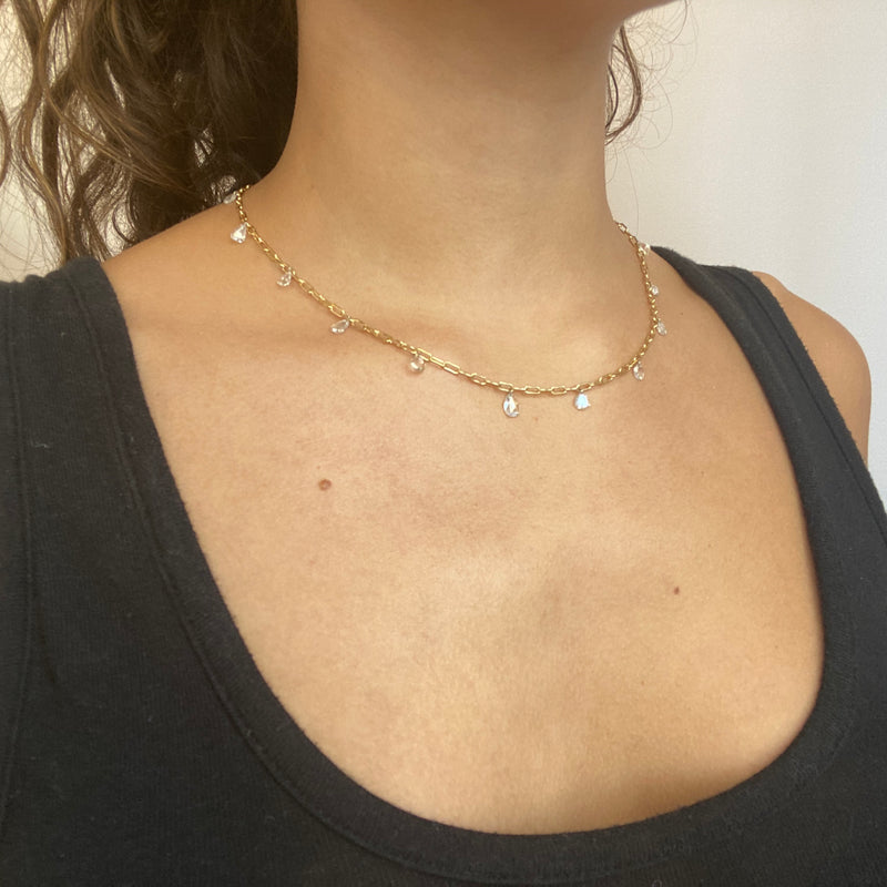 3.17ctw Mixed Rose Cut Diamond Pierced Necklace