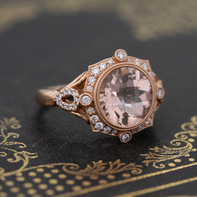 3.26ctw Morganite Halo Ring
