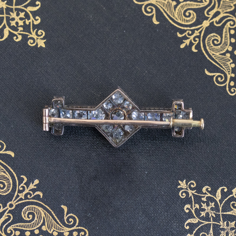3.30ctw Victorian Old Mine Cut Brooch