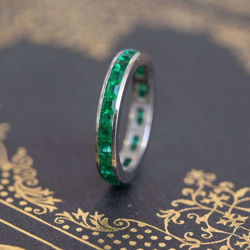 3.40ctw Step Cut Emerald Eternity Band