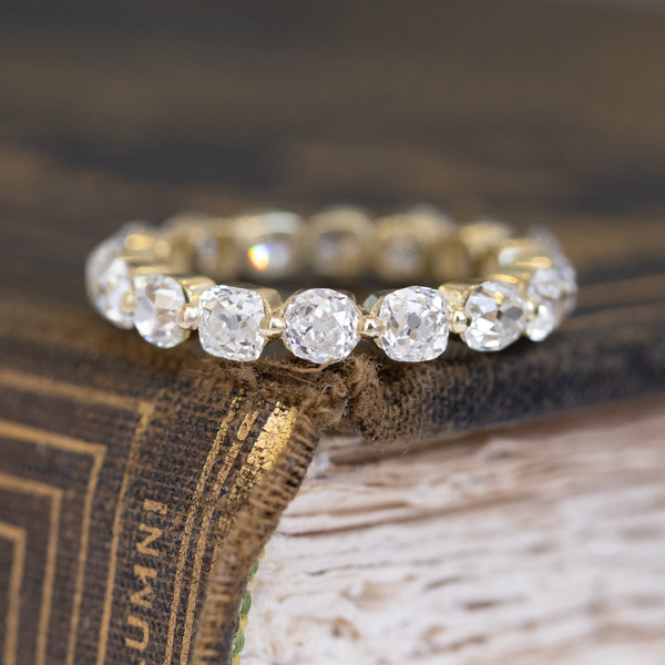3.41ctw Old Mine Cut Diamond Eternity Band
