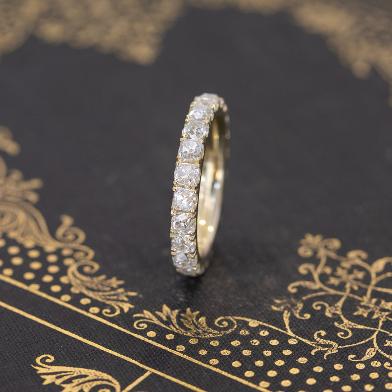 3.31ctw Old Mine Cut Eternity Band, 18kt Yellow Gold