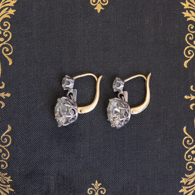 4.99ctw Old European Cut Edwardian Double Drop Earrings, GIA J VS2