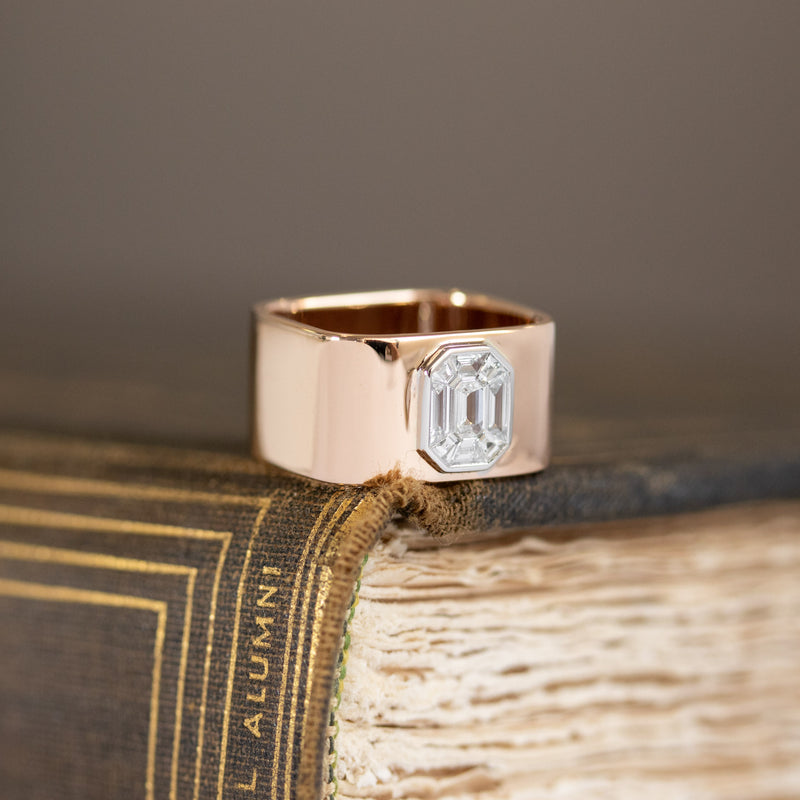 Step Cut Mosaic Geometric Band, Rose Gold