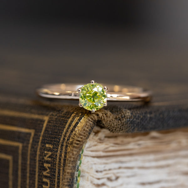 .38ct Yellow Old Mine Cut Diamond Solitaire