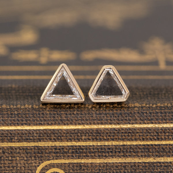 .38ctw Triangle Portrait Cut Diamond Stud Earrings