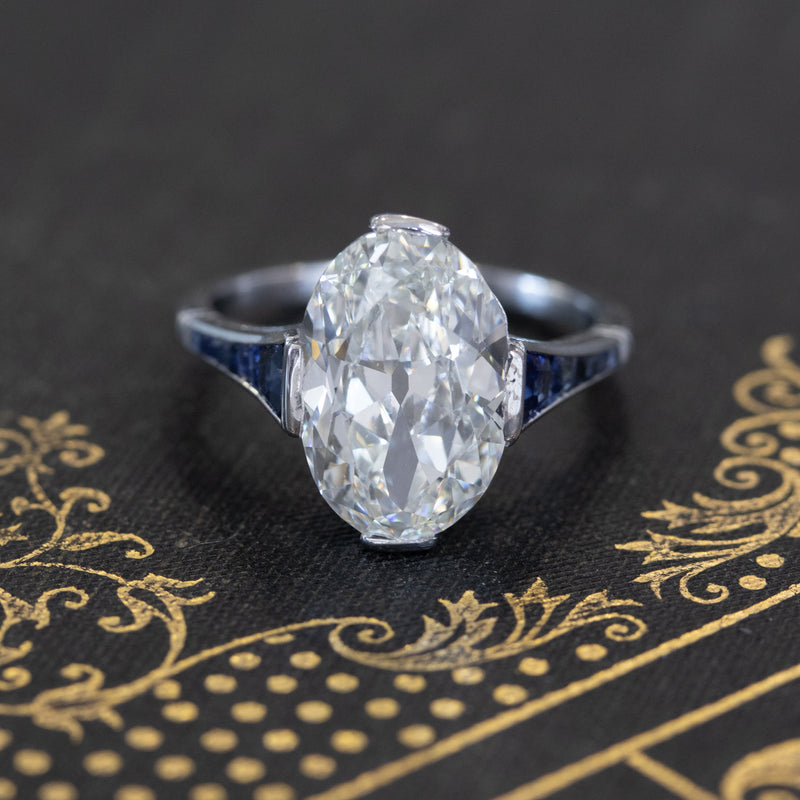 4.20ct Oval Cut Diamond Art Deco Solitaire, GIA I VS
