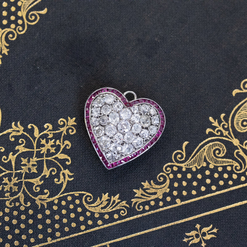 4.15ctw Antique Ruby and Diamond Pave Heart Pendant