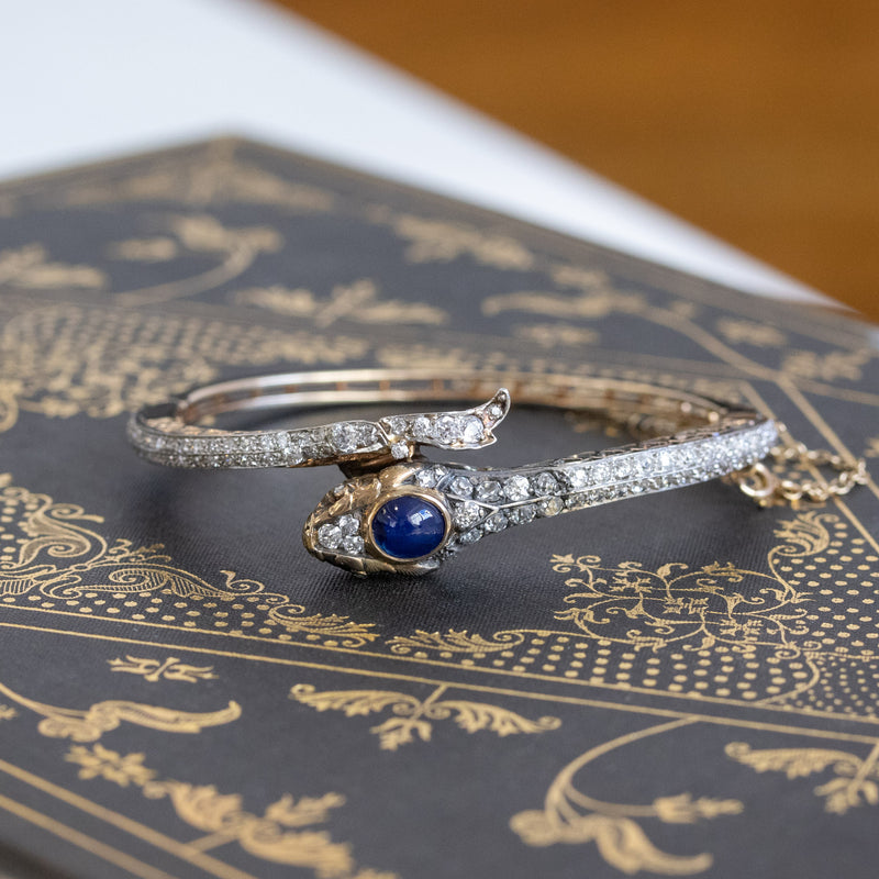 4.50ctw Sapphire and Diamond Serpent Bangle