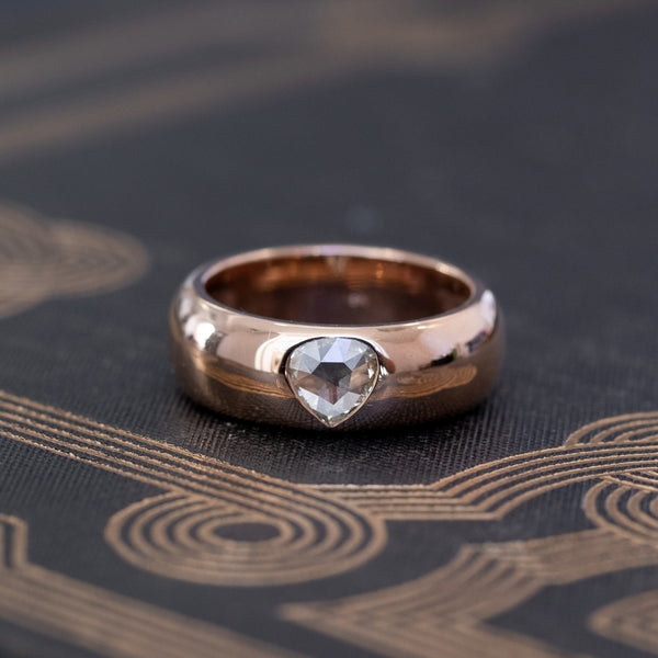 .40ct Rose Cut Pear Gypsy Ring, Rose Gold