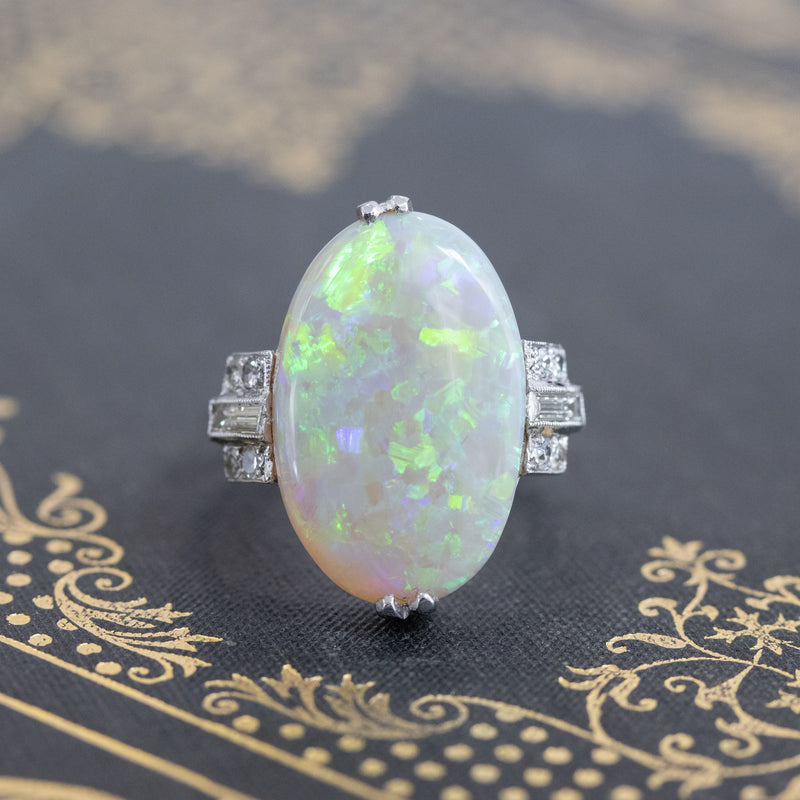 5.01ct Art Deco Opal and Diamond Ring