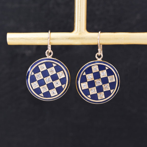 .54ctw Blue Enamel Diamond Cuff Links Earrings